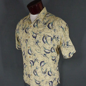 b149d2fd4f Baja Blue Shirts - Vintage Yellow Swordfish Print Hawaiian Shirt Med